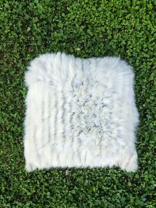 """18"""" x 18"""" Upcycled White Silver Fox Fur Pillow, recovered from a fox fur coat"""