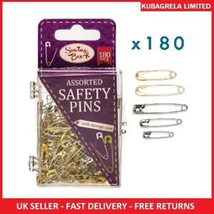 180 ASSORTED SAFETY PINS - small medium large sizes hemming craft textile fabric