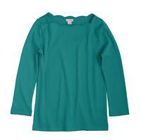 J. by J.Crew - Women's M - NWT$45 Emerald Green 3/4 Scallop Boat Neck Tee