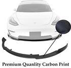 (Carbon Print) For 17-19 Tesla Model 3 Front Bumper Lip Spoiler High Quality
