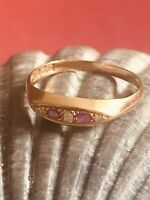 ANTIQUE ART DECO 18 CT YELLOW GOLD RING AMETHYST & DIAMOND RARE COLLECTABLE 1916