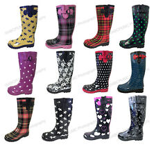 Women's Rain Boots Rubber Waterproof Colors Wellies Mid Calf Snow Boots, Sizes