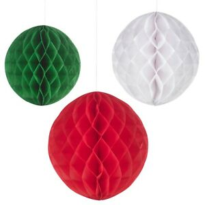 Decorative Christmas Honeycomb Jingle Bell & Ball Tissue Hanging Party Décor