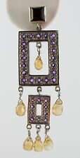 Vintage Chandelier Art Deco Style Earrings 8 CTW Genuine Garnet Citrine Sapphire