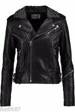 Ladies Handmade Metal Studs Original Sheep Leather Jacket Black all Sizes