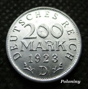 OLD COIN OF GERMANY 200 MARK 1923 D MUNICH (WEIMAR REPUBLIC) MINT