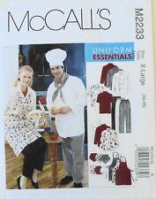 McCalls 2233 Unisex Chef Uniform Jacket Hat Apron Pants Sewing Pattern X-Large