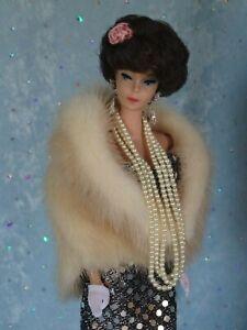 AllforDoll Beige Mink FUR STOLE for 11.5 Fashion Vintage Silkstone Barbie Dolls