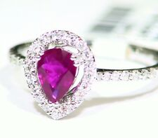 .89CT 14K Gold Natural Round Cut White Diamond Ruby Vintage Engagement Ring Deco