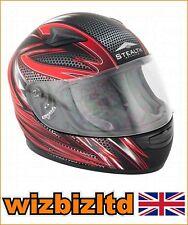 Niños sigilo casco HD127 Cara Completa Rojo Razor Plano Negro XXS STH031XXS