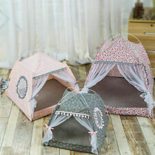 Pet Cat Dog Cave Bed Tent House Kitten Small Teepee Spring Breathable Kennel CO