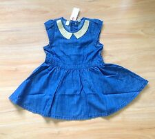 NWT ESPRIT Baby Girls Sparkle Collar Denim Party Dress Size 12 Months (J38)