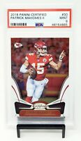 2018 Certified Chiefs Star PATRICK MAHOMES Football Card PSA 9 MINT / Low Pop 12