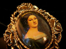 WOW Very Lovely Jac Win Design Vintage 70's Beautiful Lady Cameo Brooch 216F7