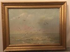 Hermosa Pintura Al Óleo De Gaviotas Enmarcado Firmado indistintamente 77 ❤ ❤ ❤ ❤