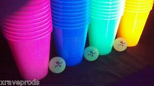 **BLACKLIGHT PONG SET** - CUPS AND BALLS - BEER PONG - PARTY - GAMES - NEON - UV