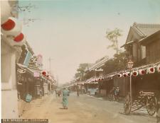 Japon, Street of Yokohama Vintage albumen print.  Tirage albuminé aquarellé