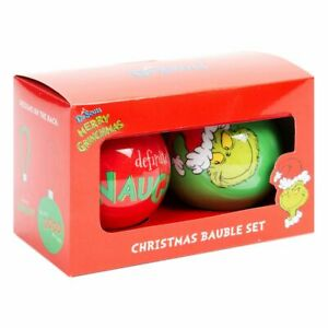 The Grinch XM7625 Set Of 2 Baubles - Naughty & Good New & Boxed