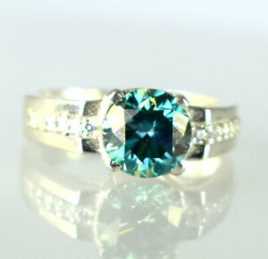 925 Silver 4.46 Ct Blue Diamond Solitaire Men's Ring Men's Latest Collection