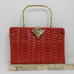 Vintage Small Lipstick Red Straw Wicker Basket Purse Jeweled Clasp & Handle