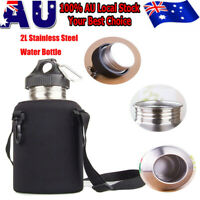 2L Stainless Steel Sports Drink Water Bottle with Snap Hook + Protector Bag