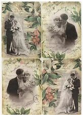 Rice Paper Vintage Wedding Photos for Decoupage Decopatch Scrapbook Craft Sheet