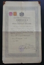 Montenegro 1912 Revenue ZIGOVINSKA Stamps On Document - Rare ! C1
