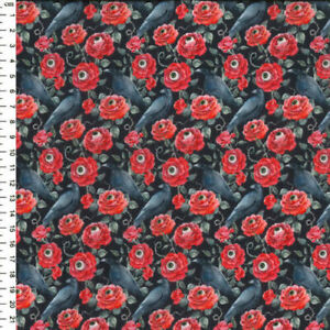 Gothic Black Crows Red Roses & Eyeballs! 100% Cotton Craft Fabric Material Mtr