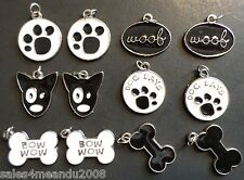 12 Enamel Animal Dog Woof Paw Print Charms Jewelry Making Earrings Bracelet DE12