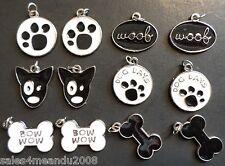 12 Enamel Animal Dog Woof Paw Print Charms Jewelry Making Earrings Bracelet DE12