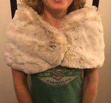 KAREN MILLEN Faux Fur Brioche Detail Shrug Stole Over Dress Size 2 UK 8-10