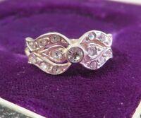 Zierlicher 925 Silber Ring Sterling Zirkonia Schleifen Optik Modern Funkelnd Top