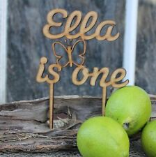 Wooden Happy Birthday Cake Topper with Name & Age & Butterfly Rustic, Kids Party