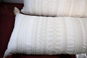 "NWT Hearth & Hand Embroidered Bolster Throw Pillow 16"" x 42"" Cotton Linen Blend"