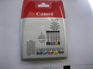 GENUINE ORIGINAL CANON CLI-571  CYMBk+ PGI-570 PGBK for Pixma  MG-5750 MG-7700
