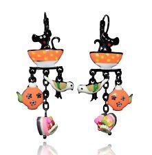 Boucles d'oreilles un chat gourmand ♥ tasse orange ♥ lol bijoux ♥ créateur Paris