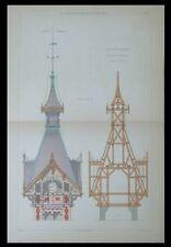 SAINT REMY SUR LIDOIRE, CLOCHER CAMPANILE - GRAVURE 1880 - CHARPENTE