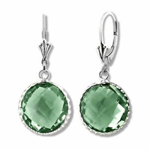 14K WG 925 Silver Natural Green Amethyst Dangling Round Drop Lever Back Earrings
