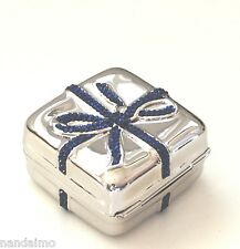 Yy Judith Leiber PillBOX Gift Wrapped IT's a BOY Blue Navy Silver NEW