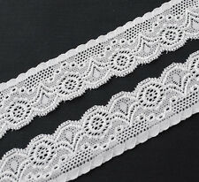 """10Y 1-1/4"""" wide White embroidered Elastic lace trimming wedding/craft/cloth R700"""