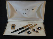 Vintage Waterman His & Hers Ballpoint Pens, Money Clip, Cuff Links, Tie Clip Set