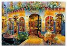 Framed canvas art print giclee  Italy romantic venice canal cafe sunset night