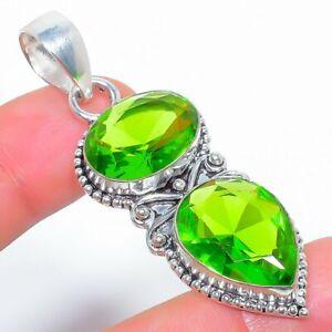 "Burmese Peridot 925 Sterling Silver Jewelry Pendant 2.4"" T2943"