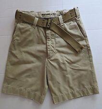 Vtg ABERCROMBIE & FITCH Men Chino Khaki Distressed Shorts Size 30 - 33 HEAVY!
