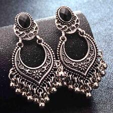 Small Drop Dangle Earrings Tassel Ethnic Tribal Aztec Silver Boho Hippie Carved