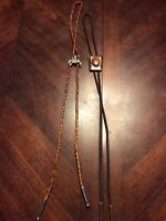 Lot Of 2 Vintage Bolo Ties Rodeo Cowboy Horse Stone