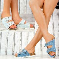 NEU Damen Sandalen Jeans-Look Korkoptik Bequeme Hauschuhe Freizeitschuhe Fransen