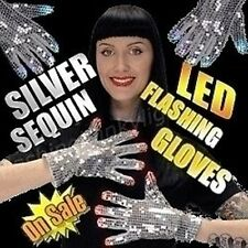 Silver Sequin Magical Mitts Multicolor LED Flashing Gloves Party Hands WOW!
