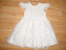 Vtg-Joykids-Girls White Chiffon Christmas Baptism Christening-Wedding Dress-18 m