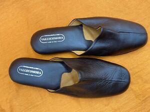 "Herren Leder Hausschuhe, Mens Leather Slippers ""Vallecomoda"" D 44 - 45"